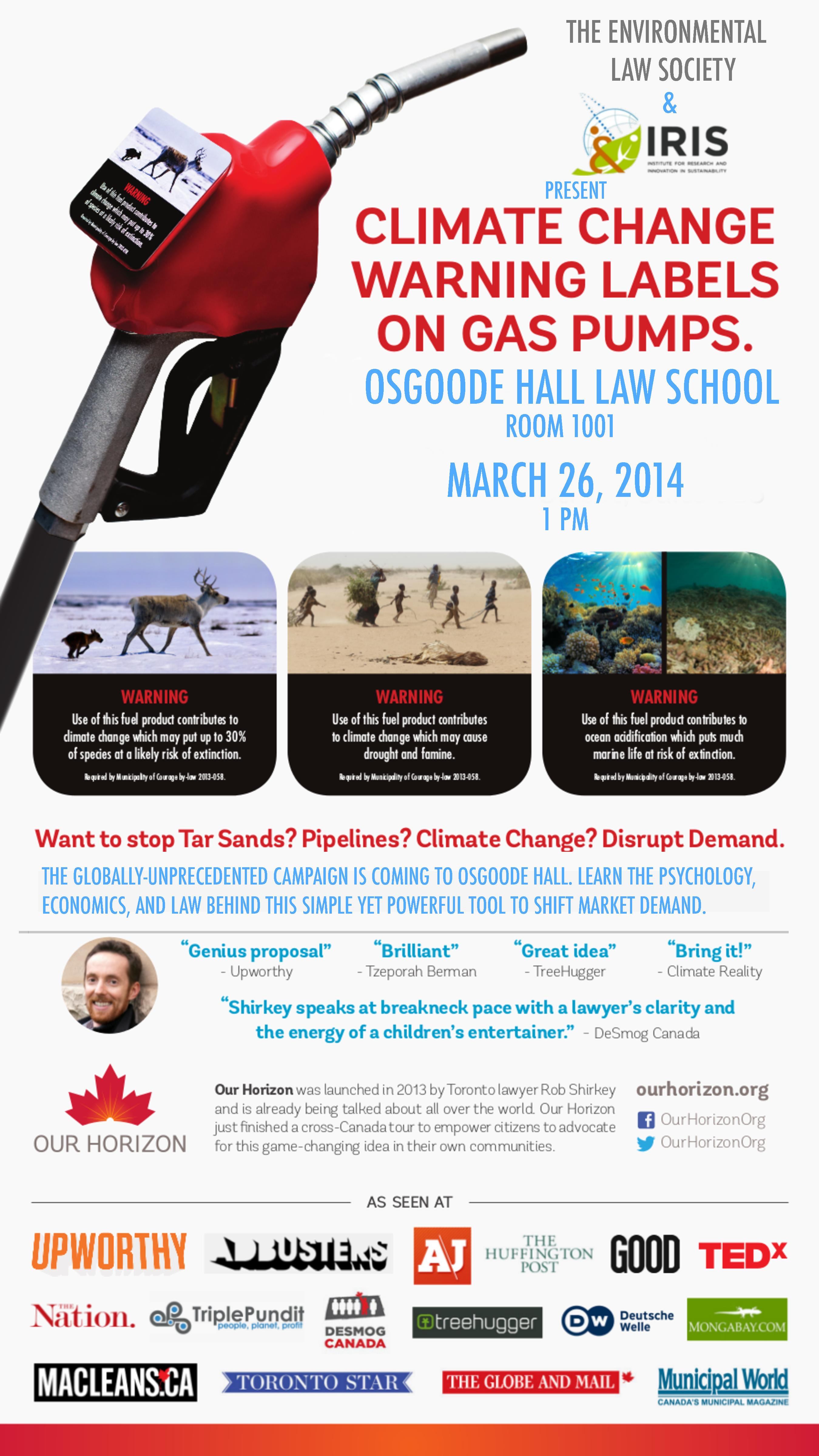 Climate Change Warning Labels on Gas Pumps @ Room 1001, Osgoode Hall Law School | Toronto | Ontario | Canada