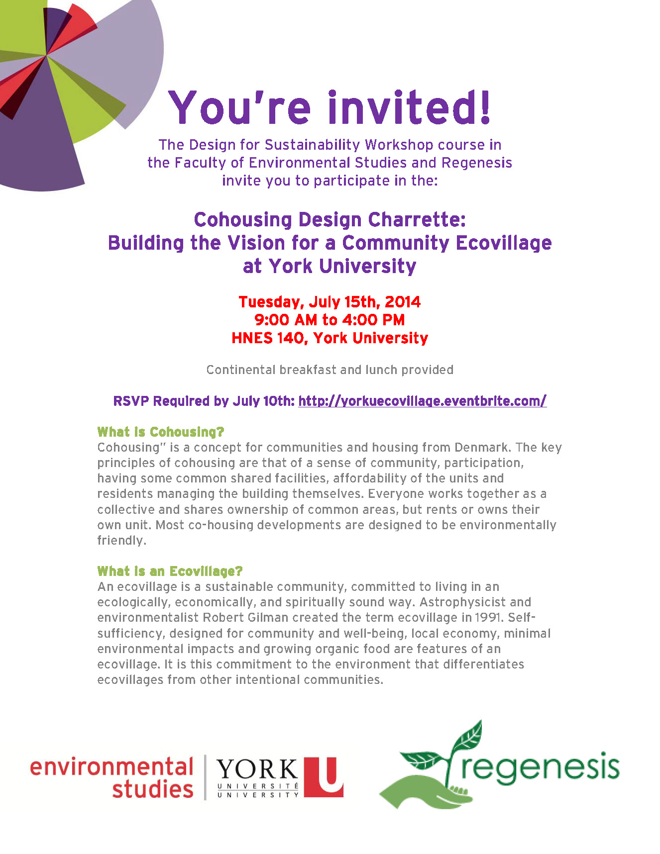Cohousing Design Charrette: Building the Vision for a Community Ecovillage at York University @ York University | Fargo | North Dakota | United States